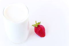 Healthy breakfast. Strawberries and a glass of healthy milk on a white background,photography Royalty Free Stock Image