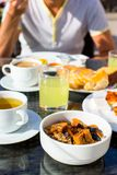 Healthy breakfast on the table close up in Royalty Free Stock Photography
