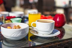 Healthy breakfast on the table close up in Stock Image