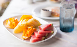 Healthy breakfast on the table close up in outdoor Royalty Free Stock Photography
