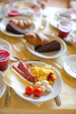 Healthy breakfast on the table close up in outdoor Royalty Free Stock Photos