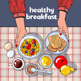 Healthy Breakfast Table Top View with Toasts, Bowl, Fruits and Eggs. Diet Concept Royalty Free Stock Photo
