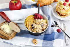 Healthy breakfast table with variety of dishes Stock Photos