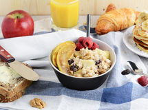 Healthy breakfast table with variety of dishes Royalty Free Stock Photo