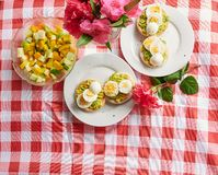 Healthy breakfast theme. Egg and avacado with salad food royalty free stock image