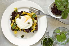 Healthy breakfast - toast with roasted yellow zucchini, pesto and poached egg Royalty Free Stock Photo