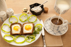 Healthy breakfast with toasted bread and eggs with cup of tea and milk. Stock Image