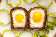 Healthy breakfast with toasted bread and eggs with cup of tea and milk. Royalty Free Stock Photography
