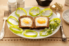 Healthy breakfast with toasted bread and eggs with cup of tea and milk. Stock Photography