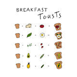 Healthy breakfast toasts idea. Easy breakfast ways. Hand drawn vector elements Stock Images
