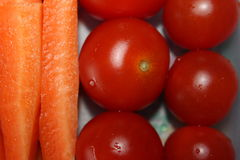 Healthy breakfast tomatoes and carrots Stock Photo