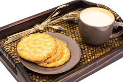 Healthy breakfast on tray: yogurt and cereal cookies Stock Image
