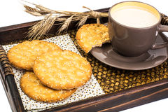 Healthy breakfast on tray: yogurt and cereal cookies Stock Images