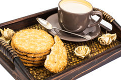 Healthy breakfast on tray: yogurt and cereal cookies Royalty Free Stock Images