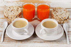 Healthy breakfast with two   coffee cup Royalty Free Stock Photos