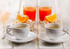 Healthy breakfast with two   coffee cup Stock Images