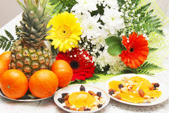 Healthy Breakfast for two. Flowers and fruit in the morning lift your spirits and inspire you with positive emotions for the whole day stock photos