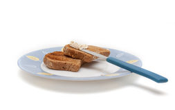 Healthy breakfast two wheat bread Royalty Free Stock Image