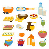 Healthy breakfast vector set. Royalty Free Stock Photography