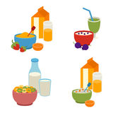 Healthy breakfast vector set. Royalty Free Stock Images