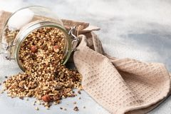 Healthy breakfast, vegan vegetarian granola made of green buckwheat with nuts and pumpkin seed royalty free stock photos