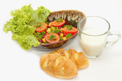 Healthy breakfast ,Vegetarian salad and whole wheat Royalty Free Stock Photos