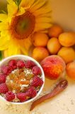 Healthy breakfast. White plate of oatmeal with dried apricots and raspberries, a glass of an apricot juice and fresh. Apricots on a white table. Summer harvest stock photo