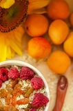 Healthy breakfast. White plate of oatmeal with dried apricots and raspberries, a glass of an apricot juice and fresh. Apricots on a white table. Summer harvest royalty free stock image