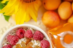 Healthy breakfast. White plate of oatmeal with dried apricots and raspberries, a glass of an apricot juice and fresh. Apricots on a white table. Summer harvest stock photos