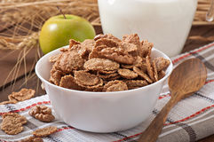 Healthy breakfast - whole grain muesli with a walnut Royalty Free Stock Image