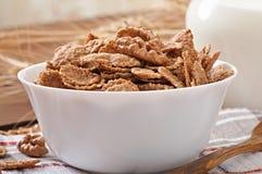 Healthy breakfast - whole grain muesli with a walnut Stock Photos