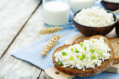Healthy Breakfast with whole grain rye bread, cottage cheese and Royalty Free Stock Images