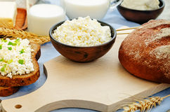 Healthy Breakfast with whole grain rye bread, cottage cheese and Stock Photos