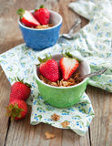 Healthy breakfast. Wholegrain cereals and fresh strawberries. Royalty Free Stock Image