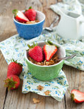 Healthy breakfast. Wholegrain cereals and fresh strawberries. Stock Images