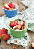Healthy breakfast. Wholegrain cereals and fresh strawberries. Royalty Free Stock Images