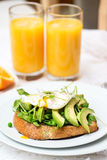 Healthy Breakfast with Wholemeal Bread Toast and Poached Egg Stock Image