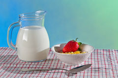 Healthy breakfast with wilk and cornflakes Royalty Free Stock Image