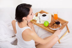 Healthy breakfast on wood tray in the morning Royalty Free Stock Photo