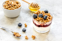 Healthy breakfast from yoghurt with muesli and berries on kitchen table Royalty Free Stock Photo