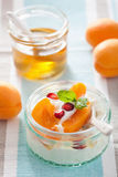 Healthy breakfast with yogurt apricot pomegranate honey Stock Images