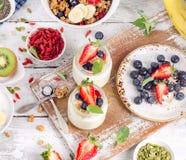 Healthy breakfast with yogurt and berries. Diet eating. Stock Photo