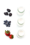 Healthy breakfast with yogurt and berry, dieting, freshness Stock Photos