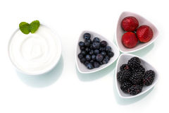 Healthy breakfast with yogurt and berry, dieting, freshness Stock Images