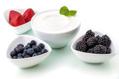 Healthy breakfast with yogurt and berry, dieting, freshness Royalty Free Stock Photography