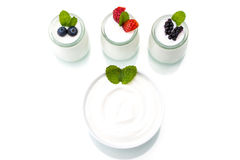 Healthy breakfast with yogurt and berry, dieting, freshness Stock Photo