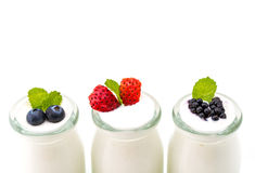 Healthy breakfast with yogurt and berry, dieting, freshness Royalty Free Stock Photo
