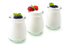 Healthy breakfast with yogurt and berry, dieting, freshness Royalty Free Stock Image