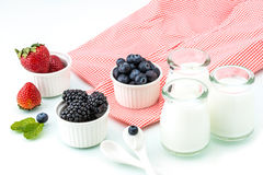 Healthy breakfast with yogurt and berry, dieting, Picnic Royalty Free Stock Photography