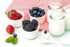 Healthy breakfast with yogurt and berry, dieting, Picnic Stock Photos